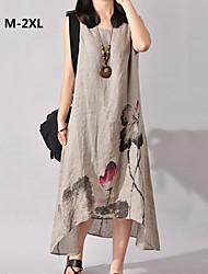 kvinnors o-neck bomull linne blommönster avslappnade litterära oelastisk långklänning, sleeveness plus size