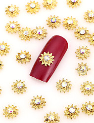 New 50PCS Gold Nail Art Jewelry Pinkie Snowflake Nail Decorations Alloy Rhinestone Aryclic Nails Nail Tips Decorations