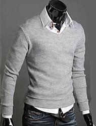 Повседневный - MEN - Свитера ( Смешанная хлопковая ткань V-образный - Длинный рукав