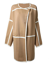 N-sweater Women's Patchwork Brown / Gray Coats & Jackets , Casual Stand Long Sleeve