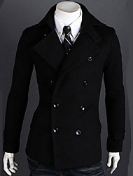 Men's Tailored Collar Coats & Jackets , Cotton Blend Long Sleeve Casual Button Winter / Fall wcc