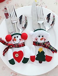2pcs Kitchen Tableware Bag Snowman Pocket Sets Silveware Holder Christmas Party Decoration