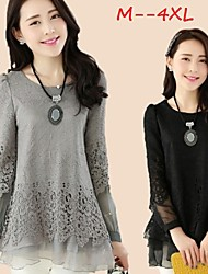 Women's Lace Black/Gray Plus Size Tops & Blouses , Lace/Cute Round Long Sleeve