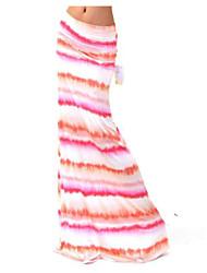Women's Print / Striped / Color Block Multi-color Skirts , Beach / Casual / Maxi Maxi   LS