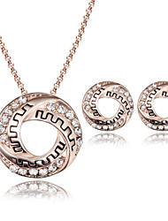 Jewelry Set Simulated Diamond Fashion Rose Gold Wedding Party Daily Casual 1set 1 Necklace 1 Pair of Earrings Wedding Gifts