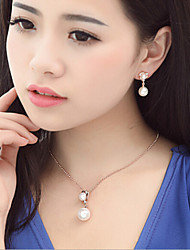 Luxurious Pearl Necklace Earrings dinner dress accessories set