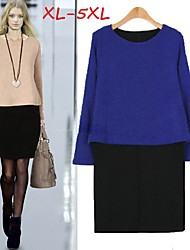 Women's Patchwork Blue/Pink Plus Size Dresses , Party/Work Round Long Sleeve
