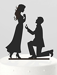 The Propose Marriage Bride and Groom Cake Topper