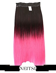 """Neitsi® 110g 22""""Full Head 5clips Kanekalon Synthetic Hair Pieces Clip In/on Straight Extensions T-Pink#"""