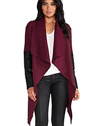 Tiffni Women's Solid Color Red / Black Coats & Jackets , Casual Cape Long Sleeve