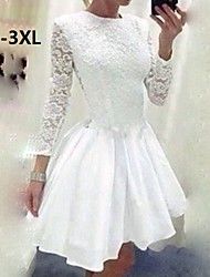 Women's Sexy Lace Cute Party Plus Sizes Inelastic Long Sleeve Above Knee Dress (Lace)