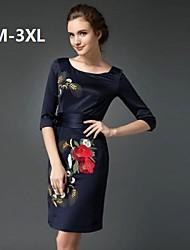 gola redonda cheongsam das mulheres bordadas mais o vestido de tamanho