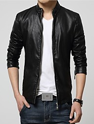 Men's Casual Slim Faux Leather Outerwear , Lined