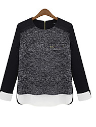 SEXY Women's Patchwork Multi-color Casual Shirts , Vintage / Sexy / Casual / Work Round Long Sleeve plus size