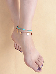 Women's Fashion Turquoise Beads Sequins Tassels Anklet