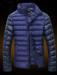 Men's Stand Coats & Jackets , Cotton / Cotton Blend Long Sleeve Casual Pocket Winter L-WARM