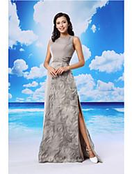 Formal Evening Dress A-line Jewel Floor-length Organza / Satin with