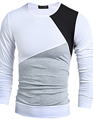 Men's High-Neck T-Shirts , Cotton / Rayon Long Sleeve Vintage / Casual Fashion Winter / Fall meet