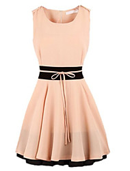 Dominic Women's Color Block Blue / Pink Dresses , Casual / Work Round Sleeveless