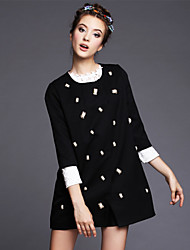 Women's Clothing Fashion Vintage Bead Loose Casual/Party/Work 3/4 Sleeve Jacket Trench Coat
