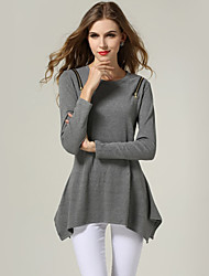 Women's Casual/Daily Simple Fall Blouse,Solid Round Neck Long Sleeve Black / Gray Cotton Thin