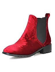 Women's Shoes Low Heel Fashion Boots / Round Toe Boots Dress / Casual Black / Red / Dan / Gray / Blue