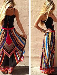 Faldas ( Algodón / Rayón viscosa )- Playa / Casual Tiro Alto Corte Ancho para Mujer
