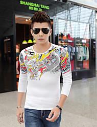 New winter tide men's Chinese wind printing men long sleeve T-shirt hot drilling dragon design fashion
