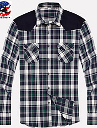 U&Shark New Hot! Men's 100% Cotton Sanded Soft Business Long Sleeve Shirt with Stitching Green-Yellow-Blue Checks/YZMM02