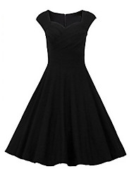 Women's Vintage/Party/Plus Sizes Knee-length 1950's Prom Swing  Dress (Polyester/Cotton Blends)