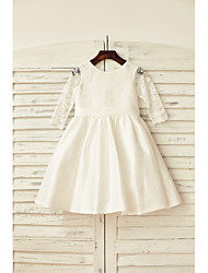 A-line Knee-length Flower Girl Dress - Lace / Taffeta 3/4 Length Sleeve Scoop with