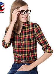 U&Shark New Hot! Women's  British Style 100% Cotton Leisure Sanding Long Sleeve Shirt with Blue White Red Yellow Check