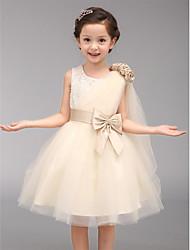 A-line Knee-length Flower Girl Dress-Cotton / Organza Sleeveless