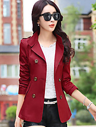bucher Women's Solid Color Blue / Red / Brown / Green / Yellow Coats & Jackets , Casual Stand Long Sleeve
