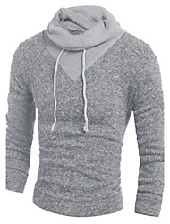 Men's Casual/Daily Simple Regular Pullover,Color Block Gray Hooded Long Sleeve Cotton Fall Winter Medium Micro-elastic