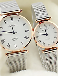 Couple's Round Dial Alloy Band Lovers' Quartz Analog Wrist Watch Cool Watches Unique Watches Fashion Watch Strap Watch