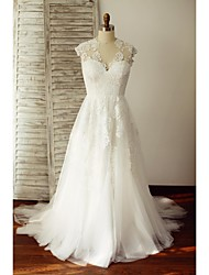A-line Wedding Dress Sweep / Brush Train V-neck Lace / Tulle with Lace