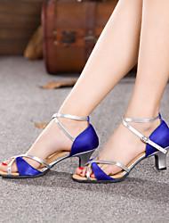 Chaussures de danse ( Bleu / Rouge ) - Non personnalisable - Talon Large - Satin - Danse latine