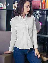 Women's Solid White Shirt , Vintage/Work Shirt Collar Long Sleeve Embroidery