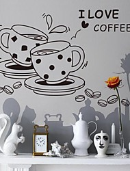 Fashion Mug Tea Time Plane Wall Stickers Wall Decor , PVC Removable