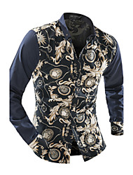 Men's Casual/Daily Vintage Spring Fall Shirt,Floral Shirt Collar Long Sleeve Polyester Medium
