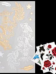4 - Séries bijoux - Doré/Multicolore/Argenté - Motif - 20*9*0.1cm - Tatouages Autocollants - AML - Homme/Femme/Adulte/Adolescent