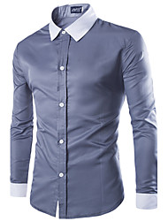 Men's  White Collar  Long Sleeve Slim Fit  Dress Shirt