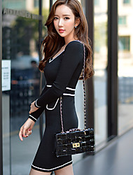 DABUWAWA Women's Solid Color Black Casual Party V-Neck Slim Long Sleeve Dresses