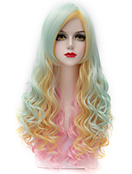 Beautiful Highlight Light Green Mix Pink Long Curly U Part Hair Harajuku Lolita Purecas Synthetic Women Wig