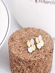 Fine jewelry korean tv drama double sided earrings rose gold flower 3a cz stud earrings silver earings 925 women