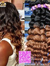 """3шт / много 12 """"-26"""" человеческие волосы бразильский виргинский цвет волос 1B30 свободная волна ткет"""