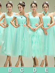 Tea-length Tulle Bridesmaid Dress A-line Halter with Beading / Flower(s) / Sash / Ribbon