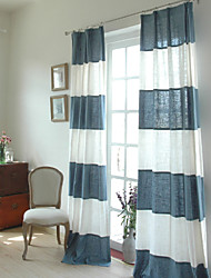 Two Panels Modern Mediterranean Patchwork Stripe Blue-white Linen Cotton Blend Curtains
