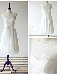 Tea-length Chiffon / Lace Bridesmaid Dress A-line Scoop with Flower(s) / Sash / Ribbon